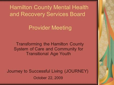 Hamilton County Mental Health and Recovery Services Board Provider Meeting Transforming the Hamilton County System of Care and Community for Transitional.
