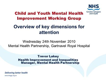 Child and Youth Mental Health Improvement Working Group Overview of key dimensions for attention Wednesday 24th November 2010 Mental Health Partnership,