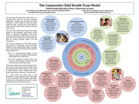 The Community Child Health Team Model Child Health Specialty Clinics, University of Iowa Debra Waldron, MD, MPH, FAAP; Director and Chief Medical OfficerVickie.
