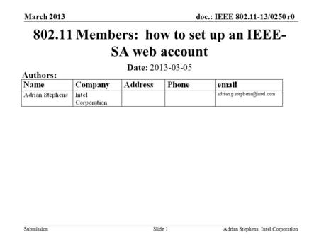 Doc.: IEEE 802.11-13/0250r0 Submission March 2013 Adrian Stephens, Intel CorporationSlide 1 802.11 Members: how to set up an IEEE- SA web account Date: