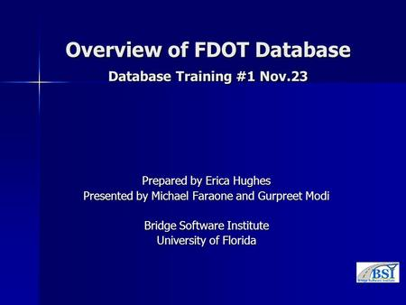 Overview of FDOT Database Database Training #1 Nov.23 Prepared by Erica Hughes Presented by Michael Faraone and Gurpreet Modi Bridge Software Institute.