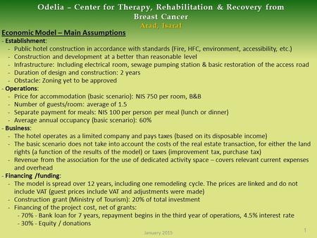 Odelia – Center for Therapy, Rehabilitation & Recovery from Breast Cancer Arad, Isaral Economic Model – Main Assumptions - Establishment: - Public hotel.