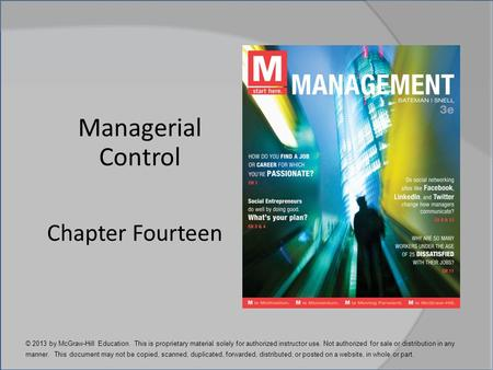 Managerial Control Chapter Fourteen