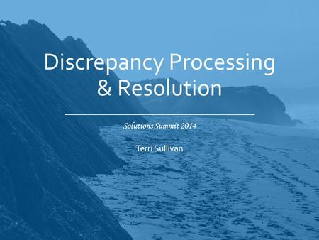 Solutions Summit 2014 Discrepancy Processing & Resolution Terri Sullivan.