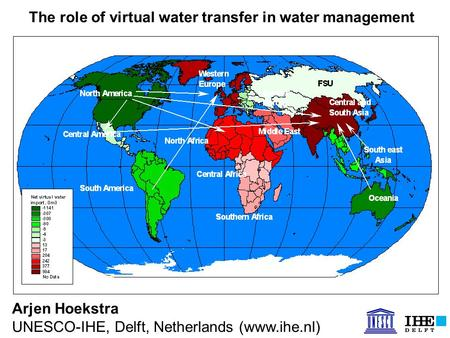 Arjen Hoekstra UNESCO-IHE, Delft, Netherlands (www.ihe.nl) The role of virtual water transfer in water management.