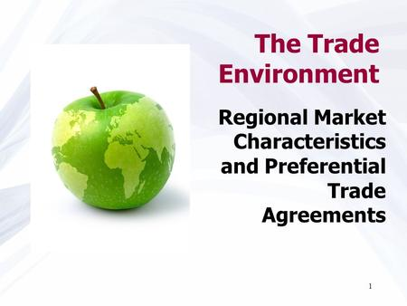 The Trade Environment Regional Market Characteristics and Preferential Trade Agreements.