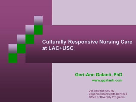 Culturally Responsive Nursing Care at LAC+USC Geri-Ann Galanti, PhD www.ggalanti.com Los Angeles County Department of Health Services Office of Diversity.