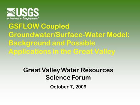 Great Valley Water Resources Science Forum