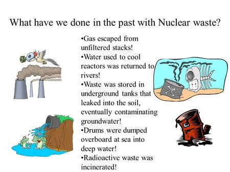 What have we done in the past with Nuclear waste? Gas escaped from unfiltered stacks! Water used to cool reactors was returned to rivers! Waste was stored.