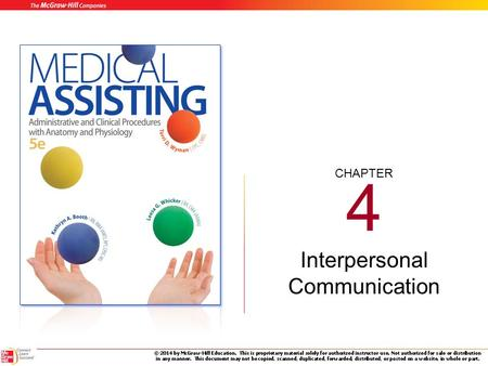 CHAPTER 4 Interpersonal Communication Learning Outcomes 4.1 Identify elements and types of communication. 4.2 Relate communication to human behavior.