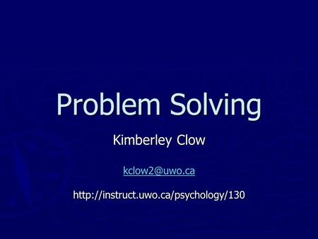 Psychological Problem Solving