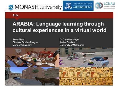 Arts ARABIA: Language learning through cultural experiences in a virtual world Scott GrantDr Christina Mayer Chinese Studies ProgramArabic Studies Monash.