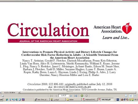 Introduction Approximately 1 in 3 of adults, have cardiovascular disease vascular/metabolic risk factors such as hypertension, dyslipidemia, and diabetes;