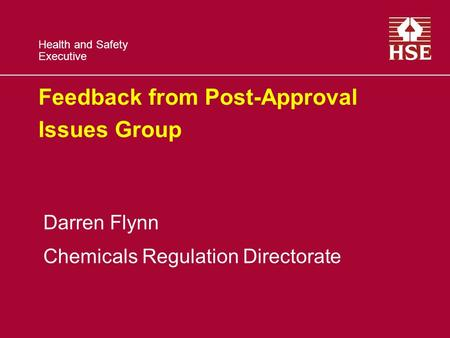 Health and Safety Executive Feedback from Post-Approval Issues Group Darren Flynn Chemicals Regulation Directorate.