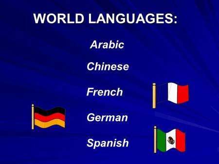 WORLD LANGUAGES: Spanish German French Arabic Chinese.