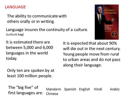 LANGUAGE The ability to communicate with others orally or in writing. Language insures the continuity of a culture. (culture bag) It is estimated there.
