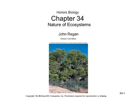 34-1 Honors Biology Chapter 34 Nature of Ecosystems John Regan Wendy Vermillion Copyright The McGraw-Hill Companies, Inc. Permission required for reproduction.