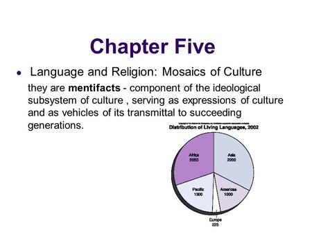 Chapter Five Language and Religion: Mosaics of Culture they are mentifacts - component of the ideological subsystem of culture, serving as expressions.