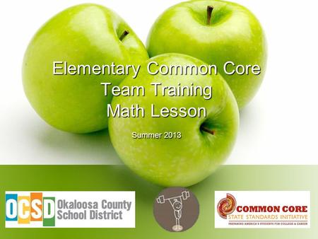 Elementary Common Core Team Training Math Lesson Summer 2013.
