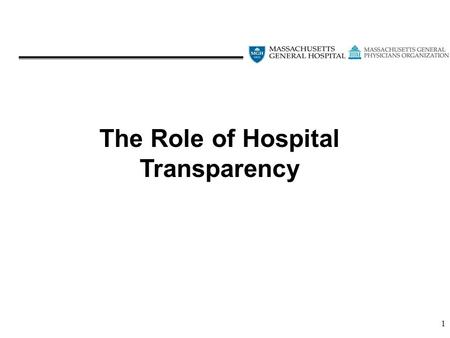 1 The Role of Hospital Transparency. 2 The Problem.