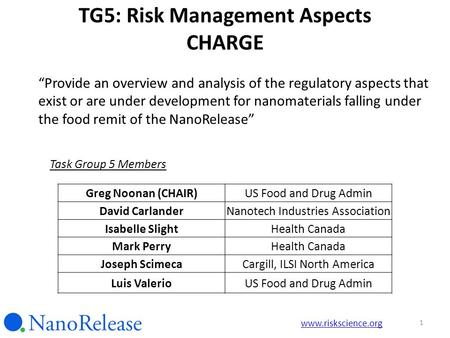 "TG5: Risk Management Aspects CHARGE ""Provide an overview and analysis of the regulatory aspects that exist or are under development for nanomaterials falling."
