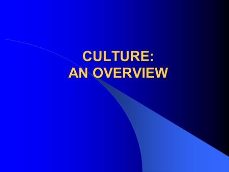 CULTURE: AN OVERVIEW.