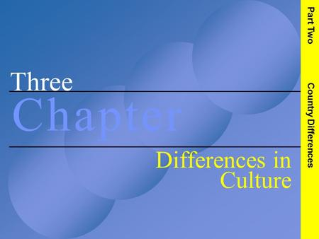 Three C h a p t e rC h a p t e r Differences in Culture Part Two Country Differences.