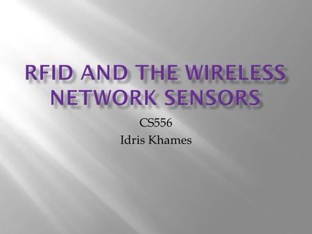 CS556 Idris Khames. What is RFID? RFID stands for radio frequency identification. It is one of automated systems which used to collect data The beginning.