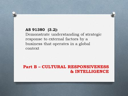 Part B – CULTURAL RESPONSIVENESS & INTELLIGENCE