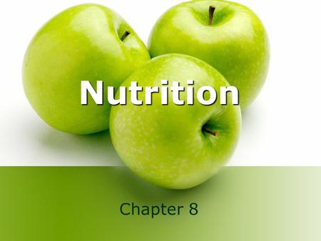 Nutrition Chapter 8. Lecture Objectives 1. List the six essential nutrients and describe their functions in the body. 2. List the acceptable macronutrient.