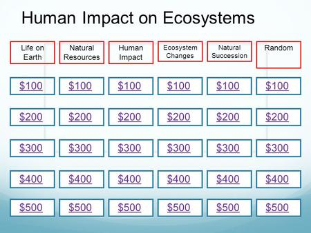 $200 $100 $300 $400 $500 $100 $200 $300 $400 $500 $100 $200 $300 $400 $500 Life on Earth Natural Resources RandomHuman Impact Ecosystem Changes Natural.