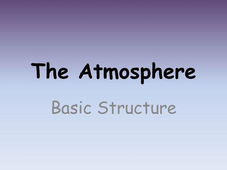 The Atmosphere Basic Structure. Composition Combination of many gases – Nitrogen - 78% – Oxygen – 21% – Water Vapor – 0% to 4% – Argon – 0.93% – Carbon.