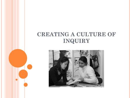 CREATING A CULTURE OF INQUIRY. Have you ever calculated the number of hours per week that teachers get to interact with one another as professional colleagues?