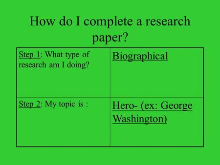 How do I complete a research paper? Hero- (ex: George Washington) Step 2: My topic is : Biographical Step 1: What type of research am I doing?