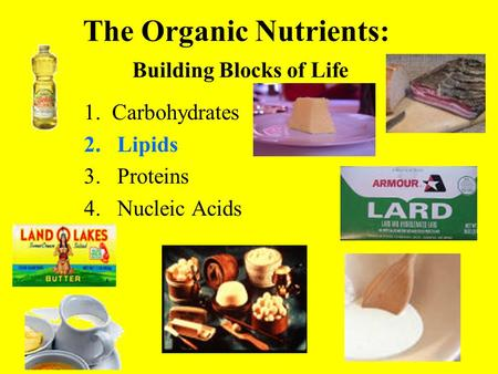 The Organic Nutrients: Building Blocks of Life 1. Carbohydrates 2.Lipids 3.Proteins 4.Nucleic Acids.