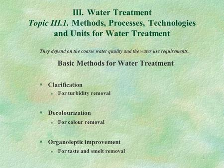 Basic Methods for Water Treatment