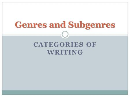 CATEGORIES OF WRITING Genres and Subgenres. Genre = Category Writing can generally be categorized by genre, then further categorized by sub-genre. In.