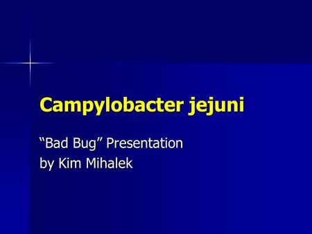 "Campylobacter jejuni ""Bad Bug"" Presentation by Kim Mihalek."