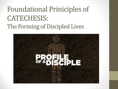 Foundational Priniciples of CATECHESIS: The Forming of Discipled Lives.