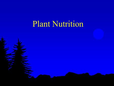 Plant Nutrition.
