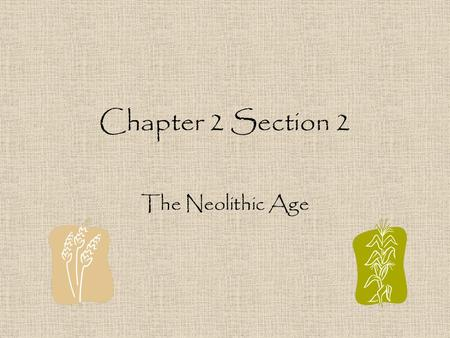 Chapter 2 Section 2 The Neolithic Age I. Facts –Neolithic (New Stone Age) about 8000 B.C. people changed from food gatherers to food producers. – Neolithic.