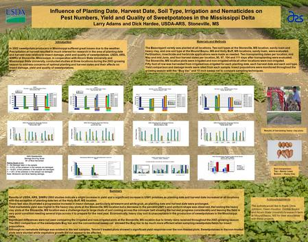 Influence of Planting Date, Harvest Date, Soil Type, Irrigation and Nematicides on Pest Numbers, Yield and Quality of Sweetpotatoes in the Mississippi.