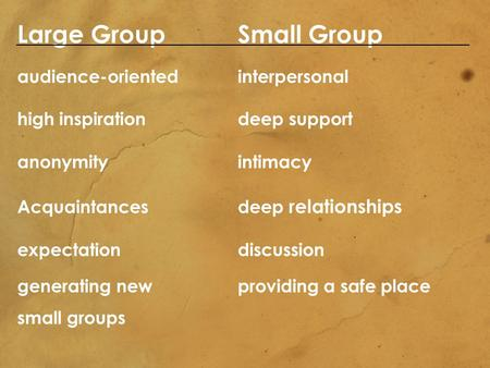 Large Group Small Group audience-orientedinterpersonal high inspirationdeep support anonymityintimacy Acquaintancesdeep relationships expectationdiscussion.