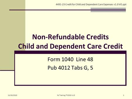 Lesson 7 Credit for Child and Dependent Care Expenses. - ppt download
