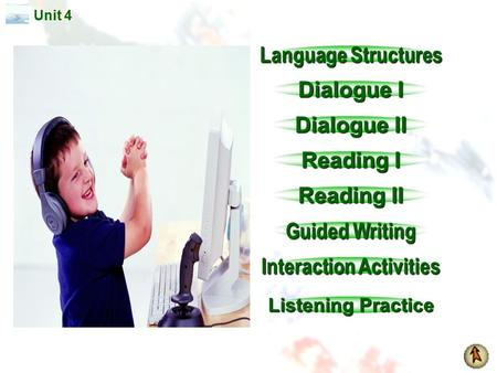 Unit 4 Language Structures Language Structures Dialogue I Dialogue I Dialogue II Dialogue II <strong>Reading</strong> I <strong>Reading</strong> I <strong>Reading</strong> II <strong>Reading</strong> II Guided Writing.