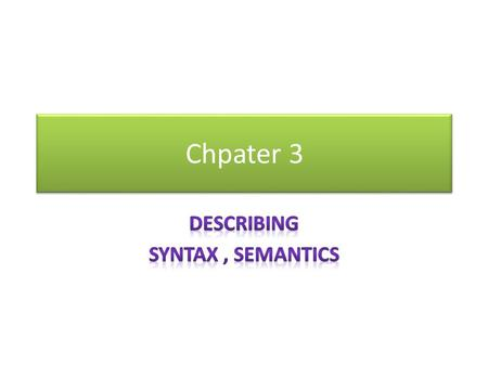 Chpater 3. Outline The definition of Syntax The Definition of Semantic Most Common Methods of Describing Syntax.