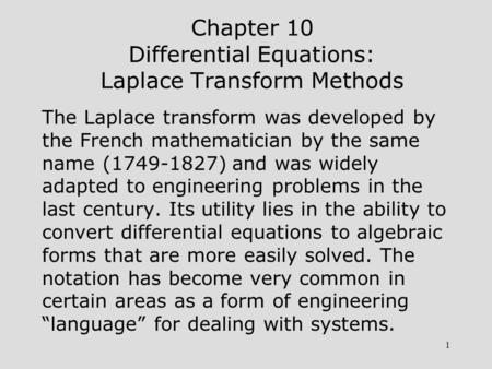 Chapter 10 Differential Equations: Laplace Transform Methods