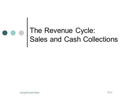 The Revenue Cycle: Sales and Cash Collections