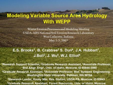 Modeling Variable Source Area Hydrology With WEPP