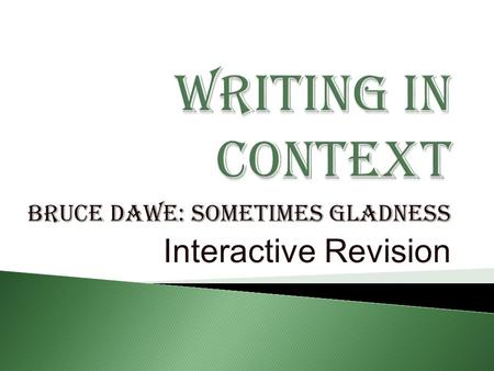 Bruce Dawe: Sometimes Gladness Interactive Revision.
